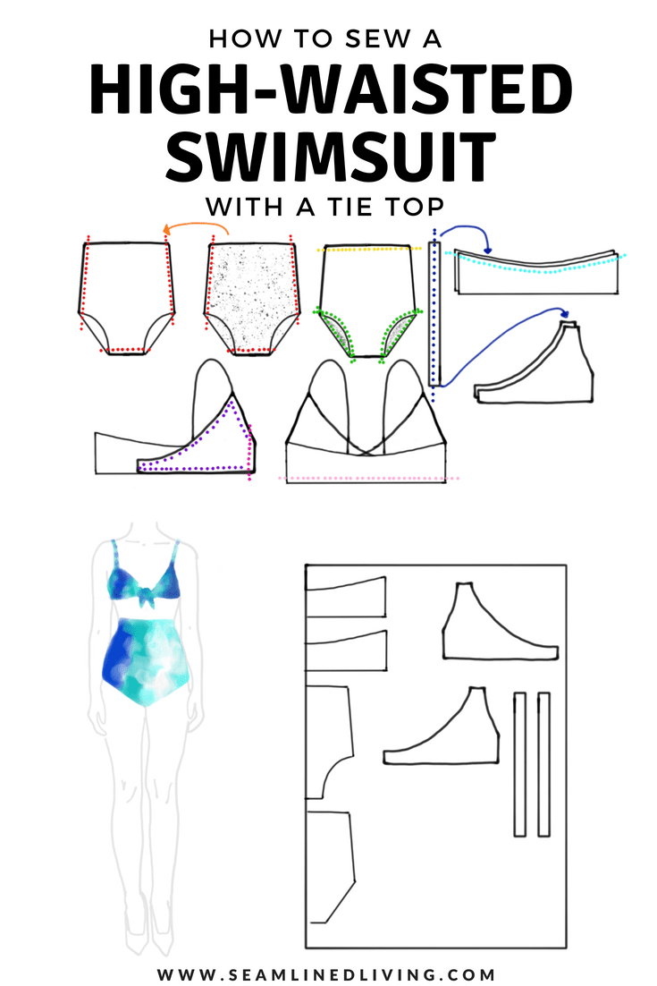 How to Sew a High-Waisted Swimsuit with a Tie Top