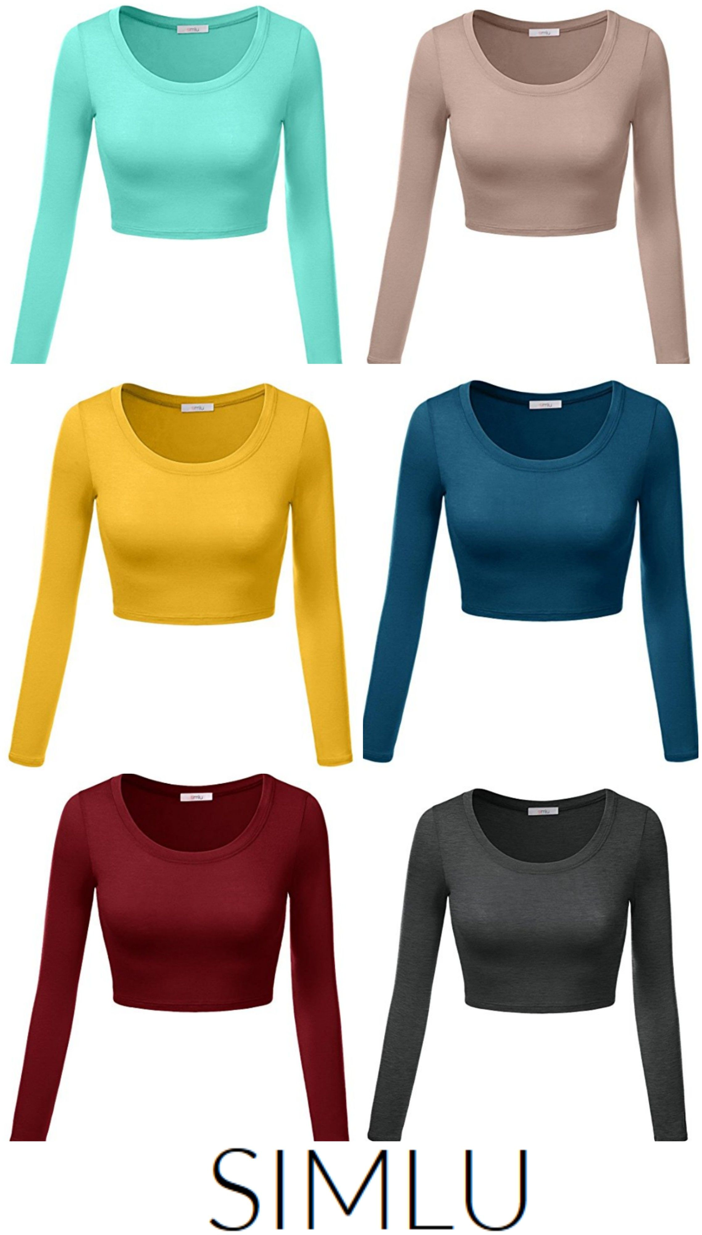 Womens Basic Round Neck Long Sleeve Crop Top