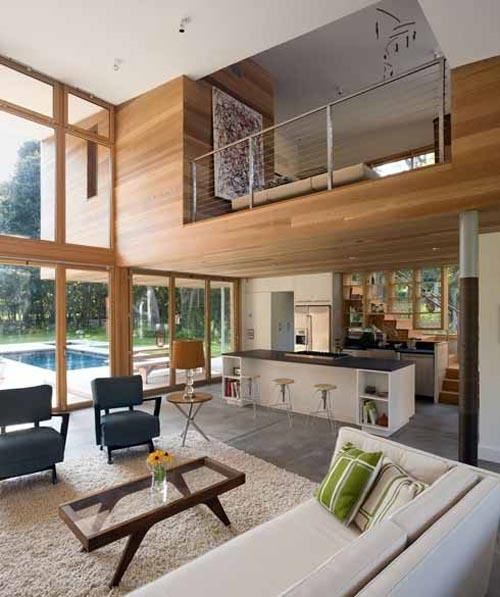 Green Home Design Ideas: Open Floorplan, Big Windows Overlooking Pool. Open Loft On