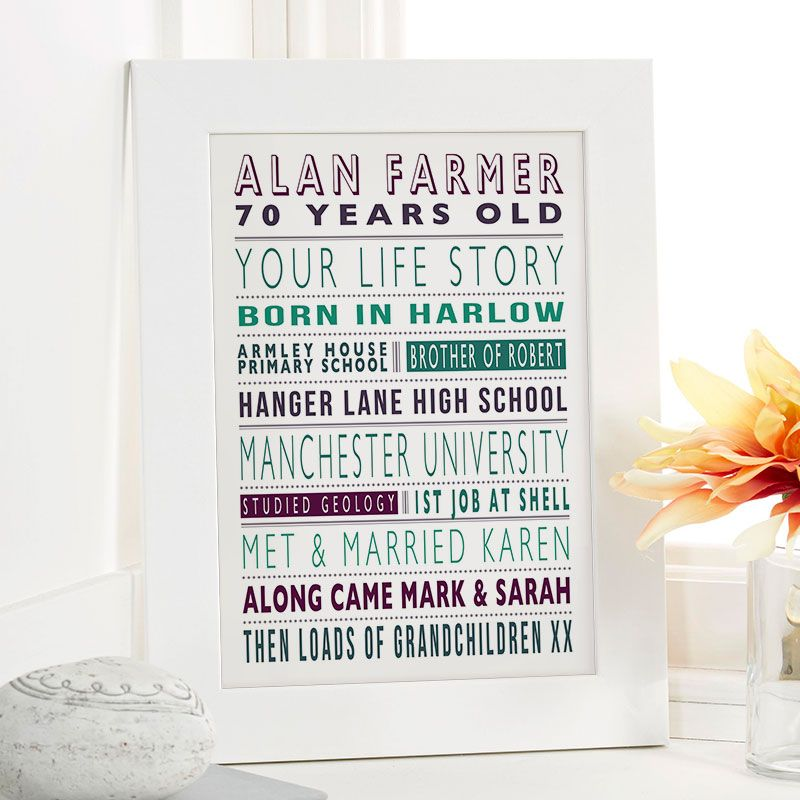 Personalised Life Story For Him As A Unique 70th Birthday Gift Supanova Colour Option Beautiful Word Art Gifts To Commemorate Landmark