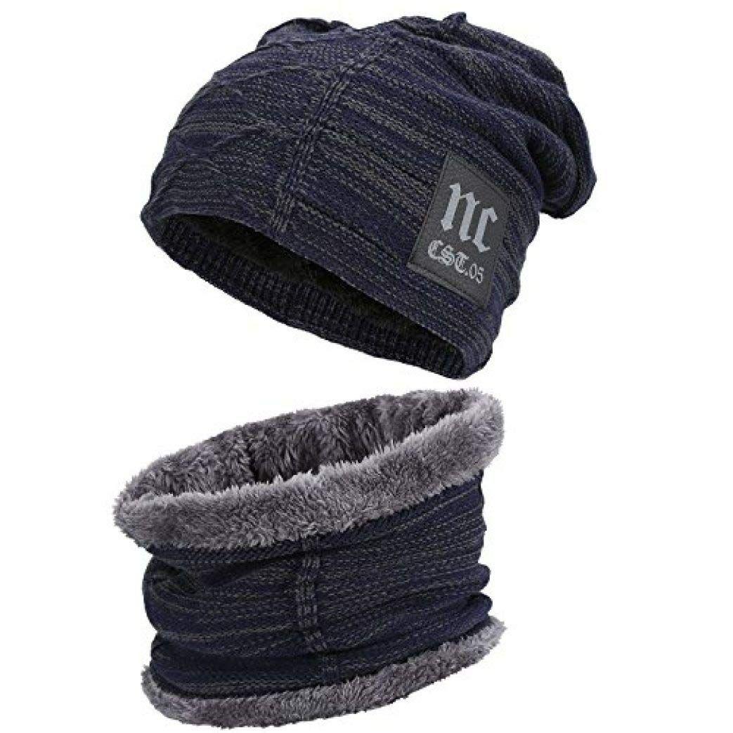 Balaclava Hat Scarf Boy Girl Baby Hat Fleece Lining Caps PomPom Beanie Hat