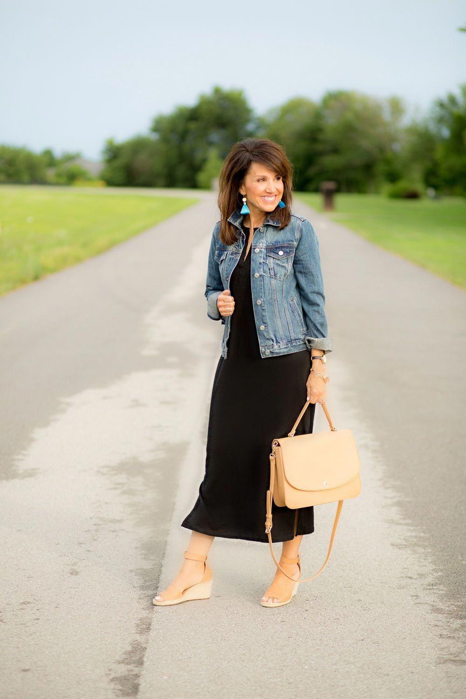 b4fb89eda0c5 Black Maxi Dress and Denim Jacket  maxidressessummer