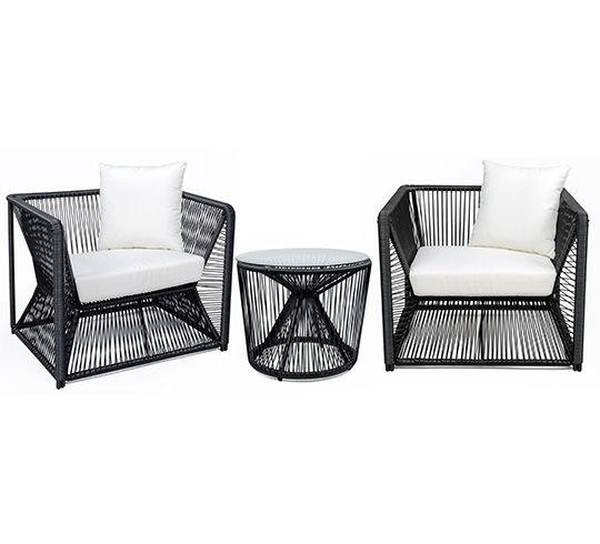 Ce salon de jardin fil noir et blanc Rio 2 places et coussin ivoire