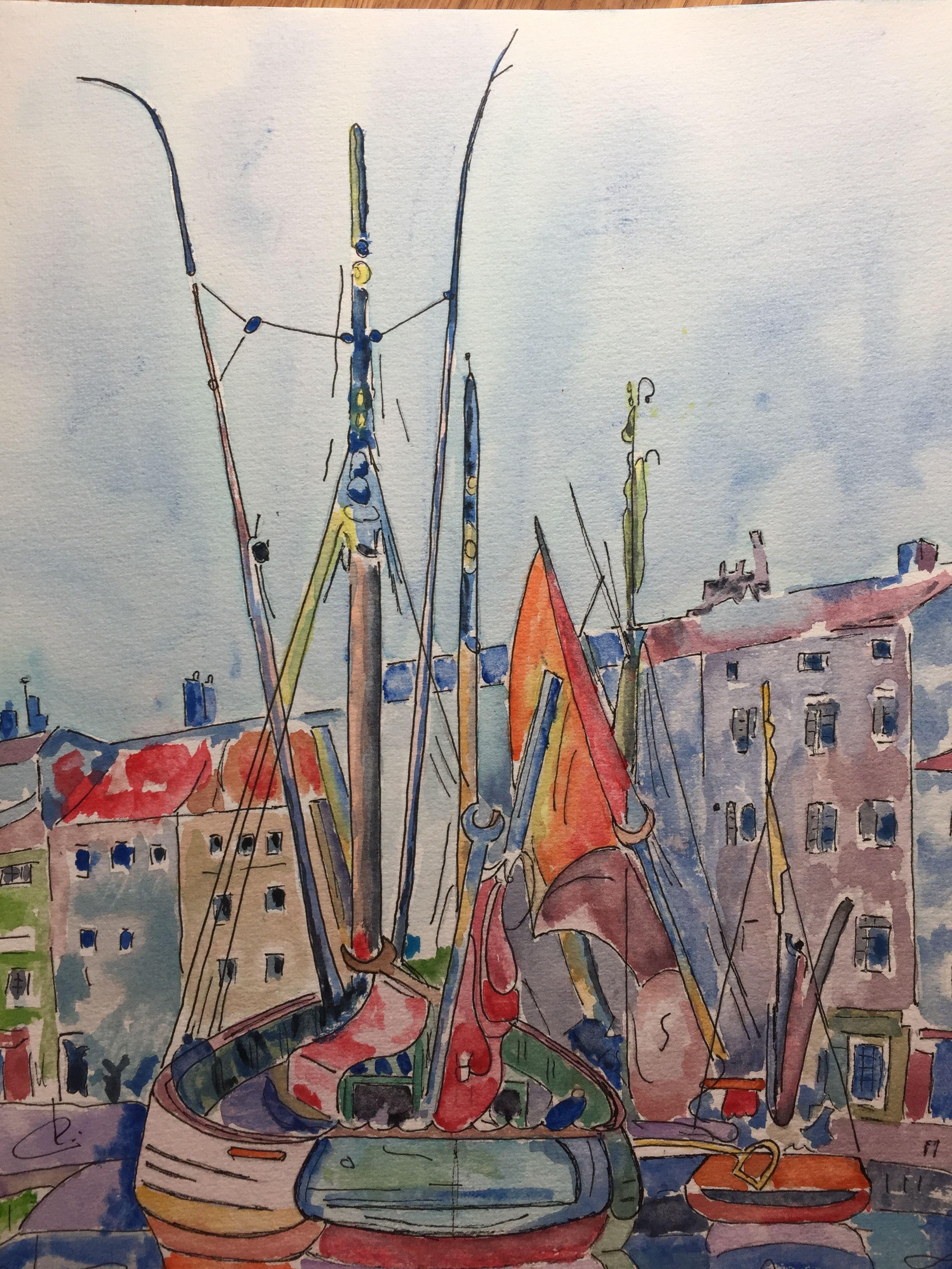 La Rochelle Bateau Au Port Aquarelle De 30 X 40 Cm Peintre