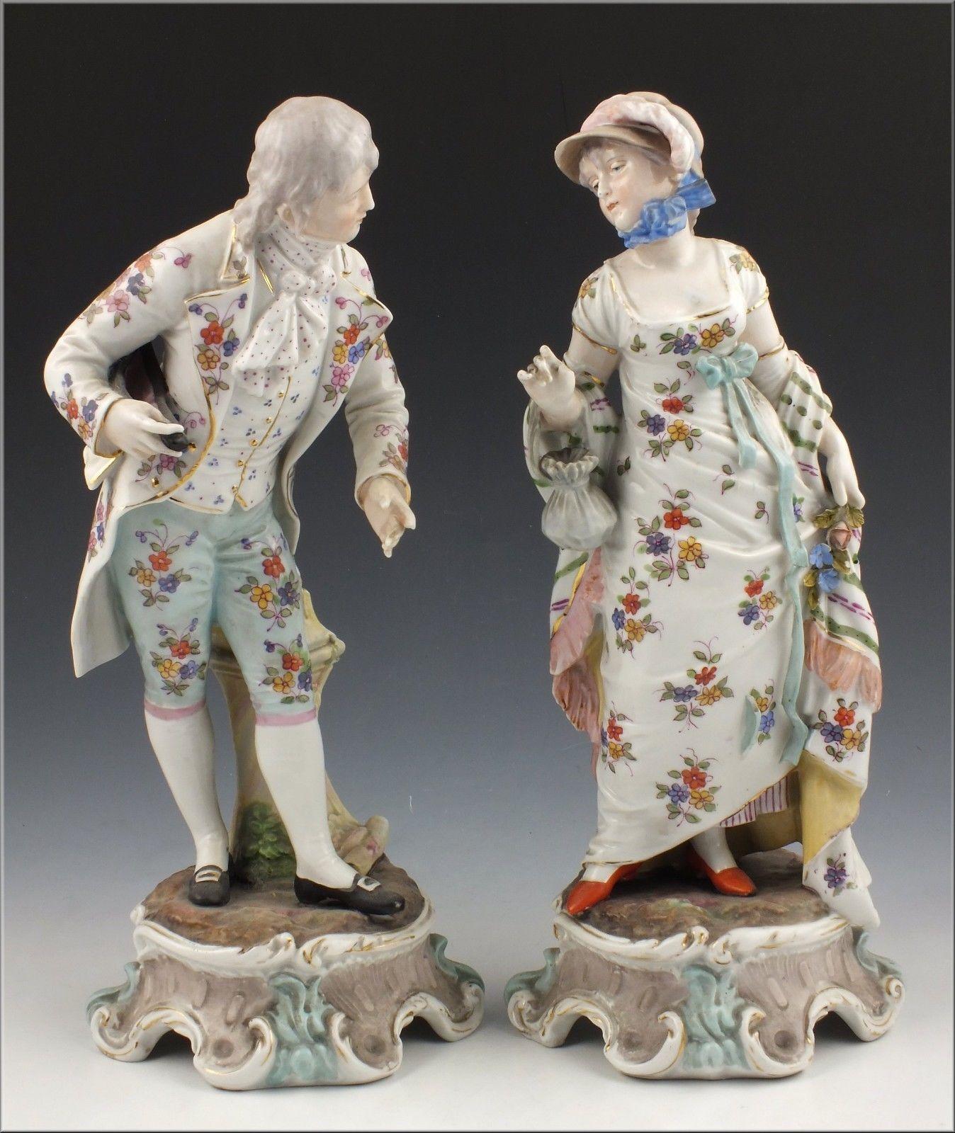 Wonderful Pair of 19th C Volkstedt-Rudolstadt Figurines of