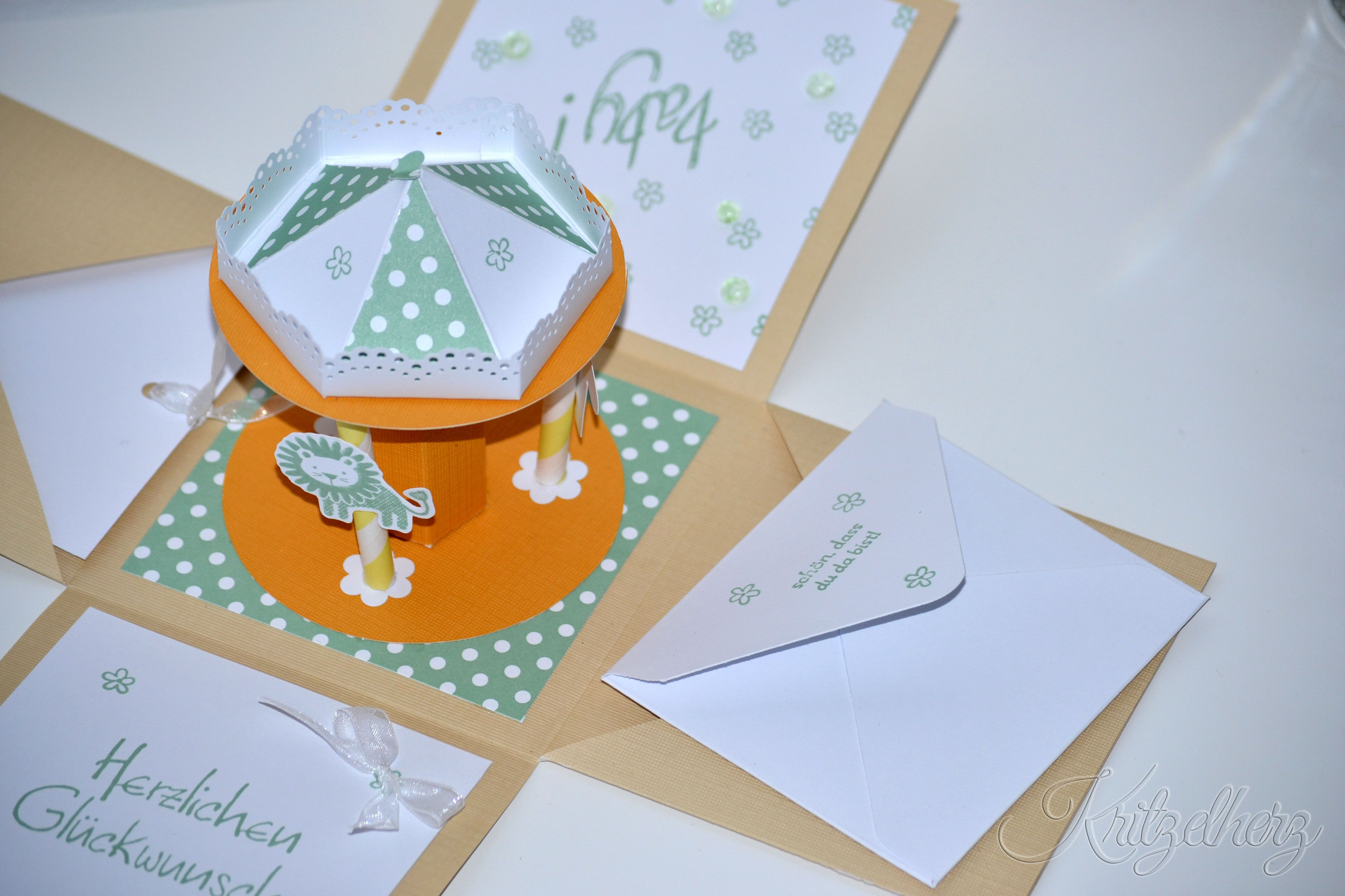 Explosionsbox Baby Stampin Up Karussell Verpackung