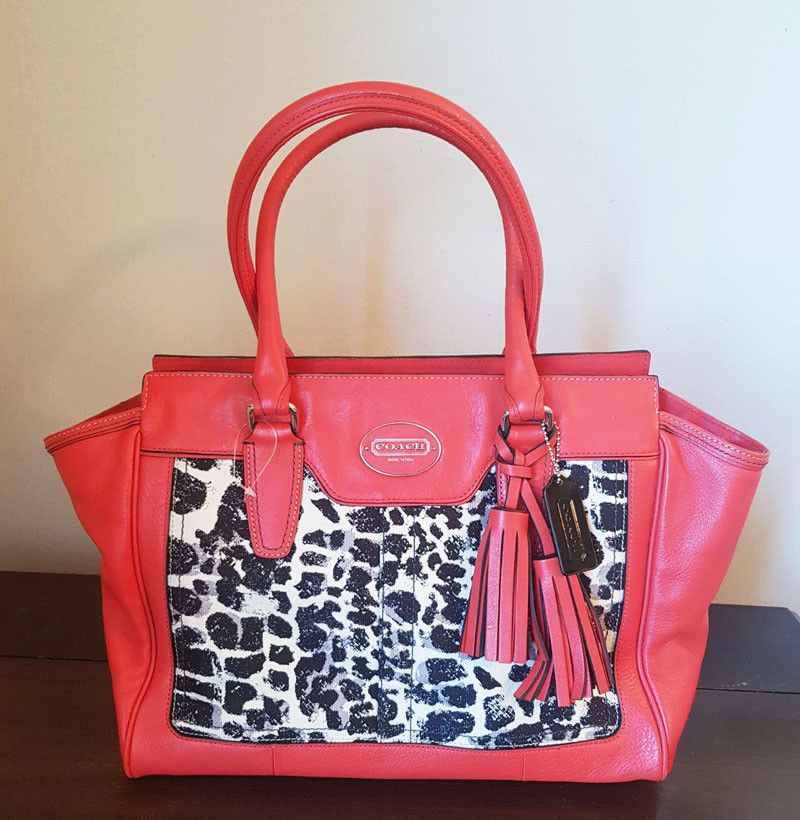 Coach Legacy Ocelot Candace Leather Satchel Red Orange Poppy Color 20 Off