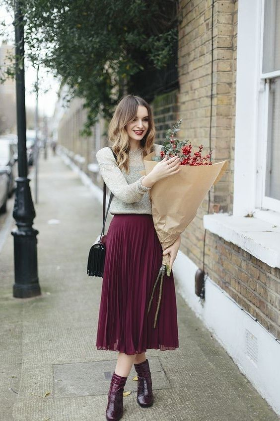 New burgundy pleated high waist women skirt wine red midi length autumn winter