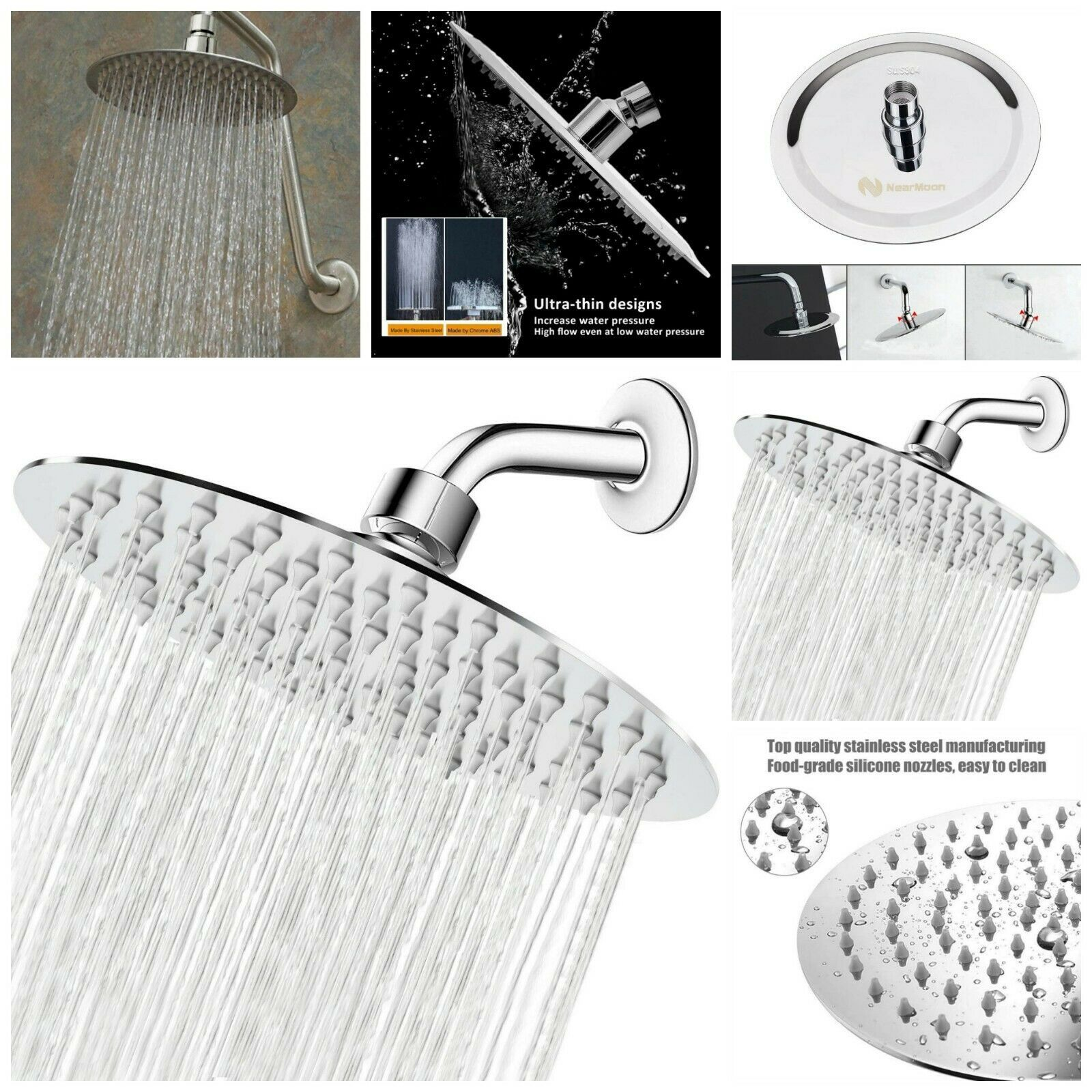 High Pressure Shower Head Ultra Thin Pressure Boosting Rainfall