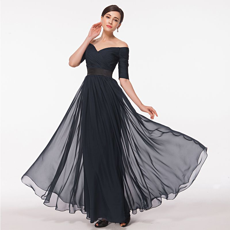 Off Shoulder Navy Blue Evening Gown With Sleeves A Line Chiffon ...