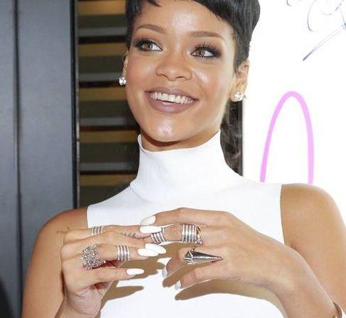 Rihanna White Pointed Acrylic Nails