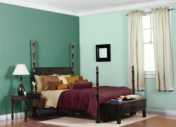 This is the project I created on Behr.com. I used these colors: PASTEL JADE(480C-2),MESA(320F-5),BILLIARD ROOM(480D-6),BEACH WHITE(W-D-420),