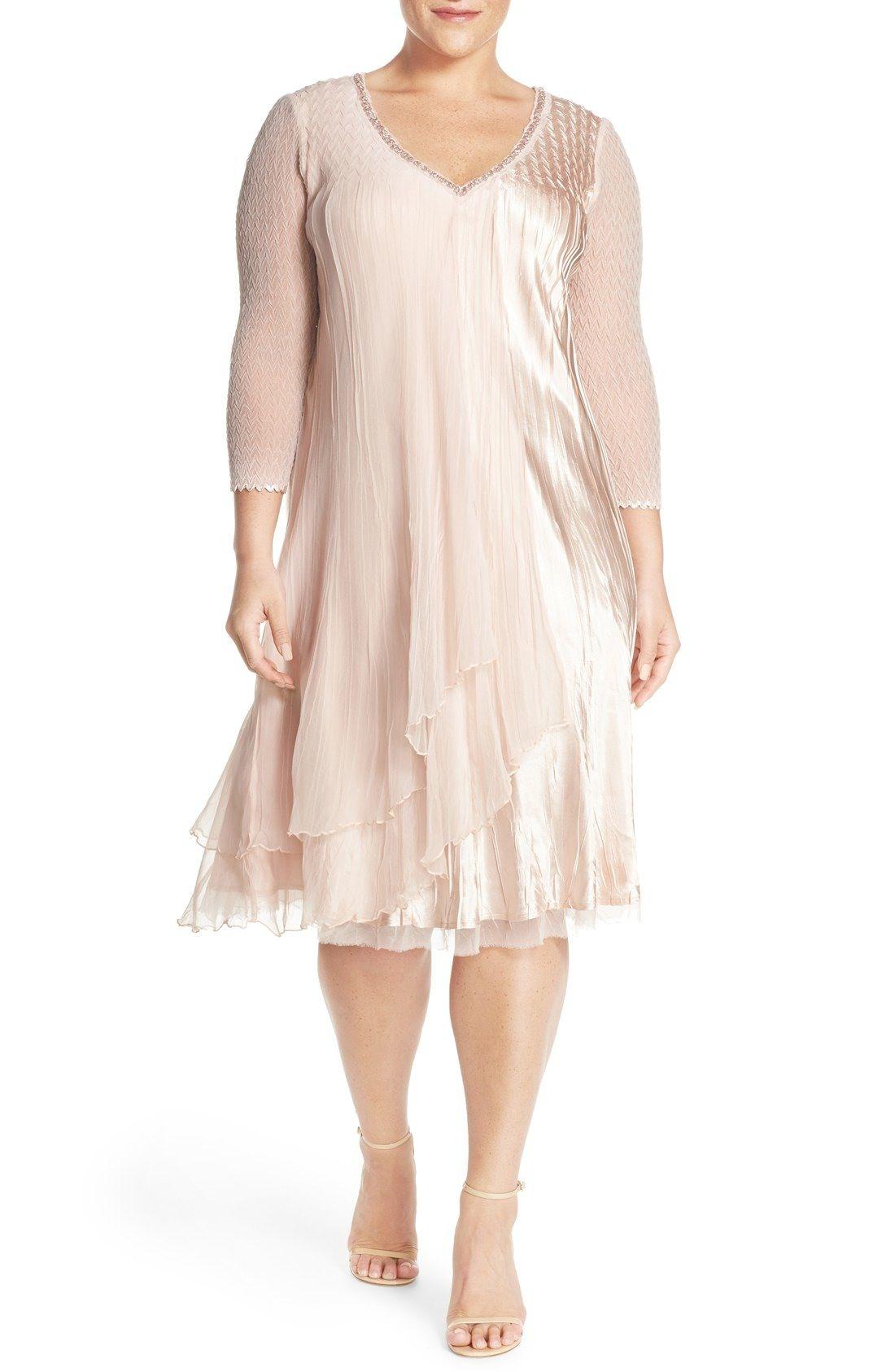 Komarov V-Neck Tiered Chiffon | Wedding dress | Dresses ...
