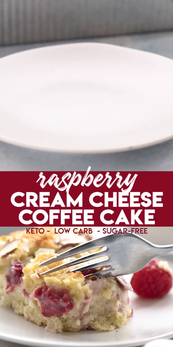 Keto Raspberry Cream Cheese Coffee Cake