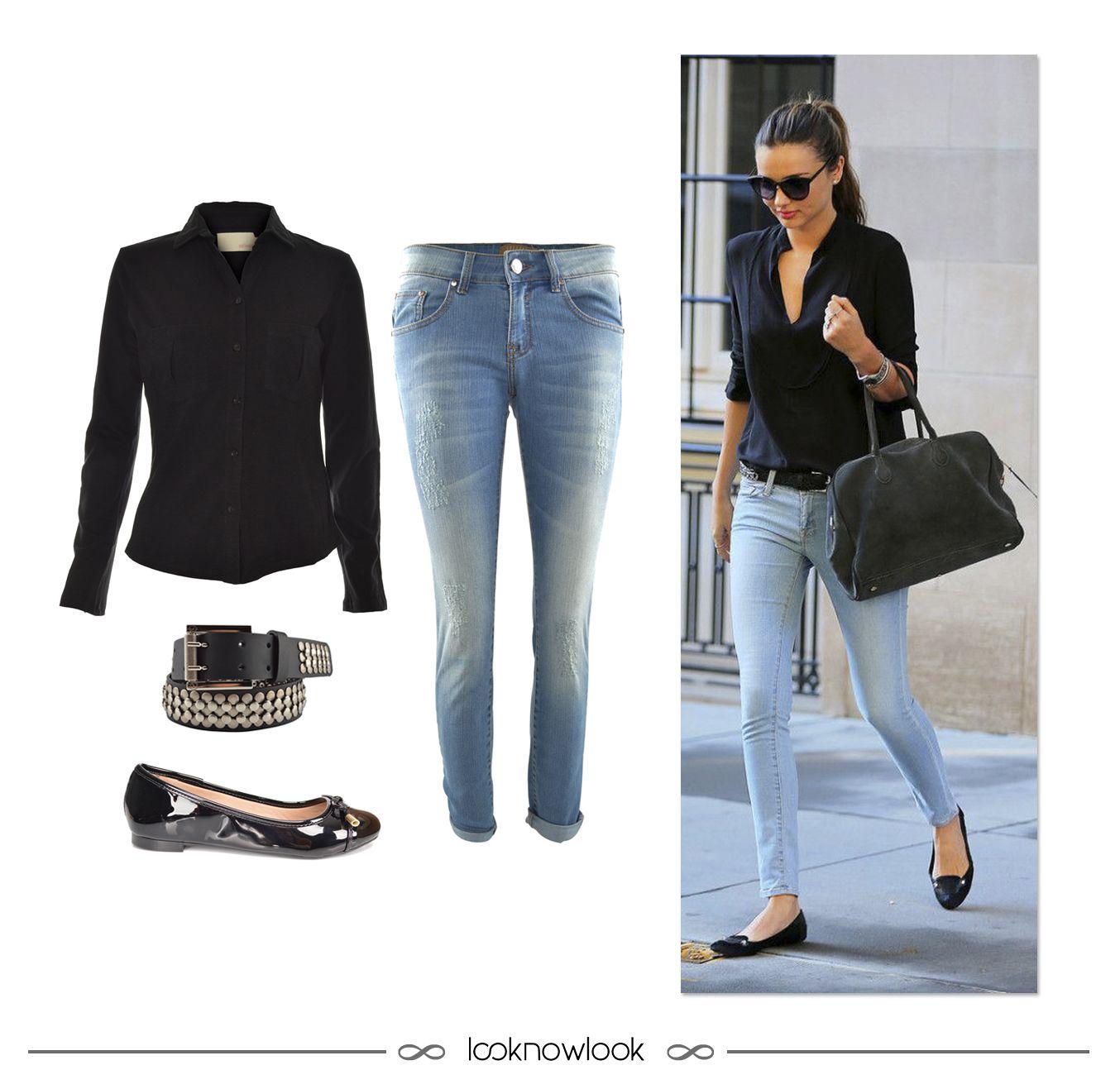 Get the Look: Camisa preta + Calça jeans reta + Cinto com