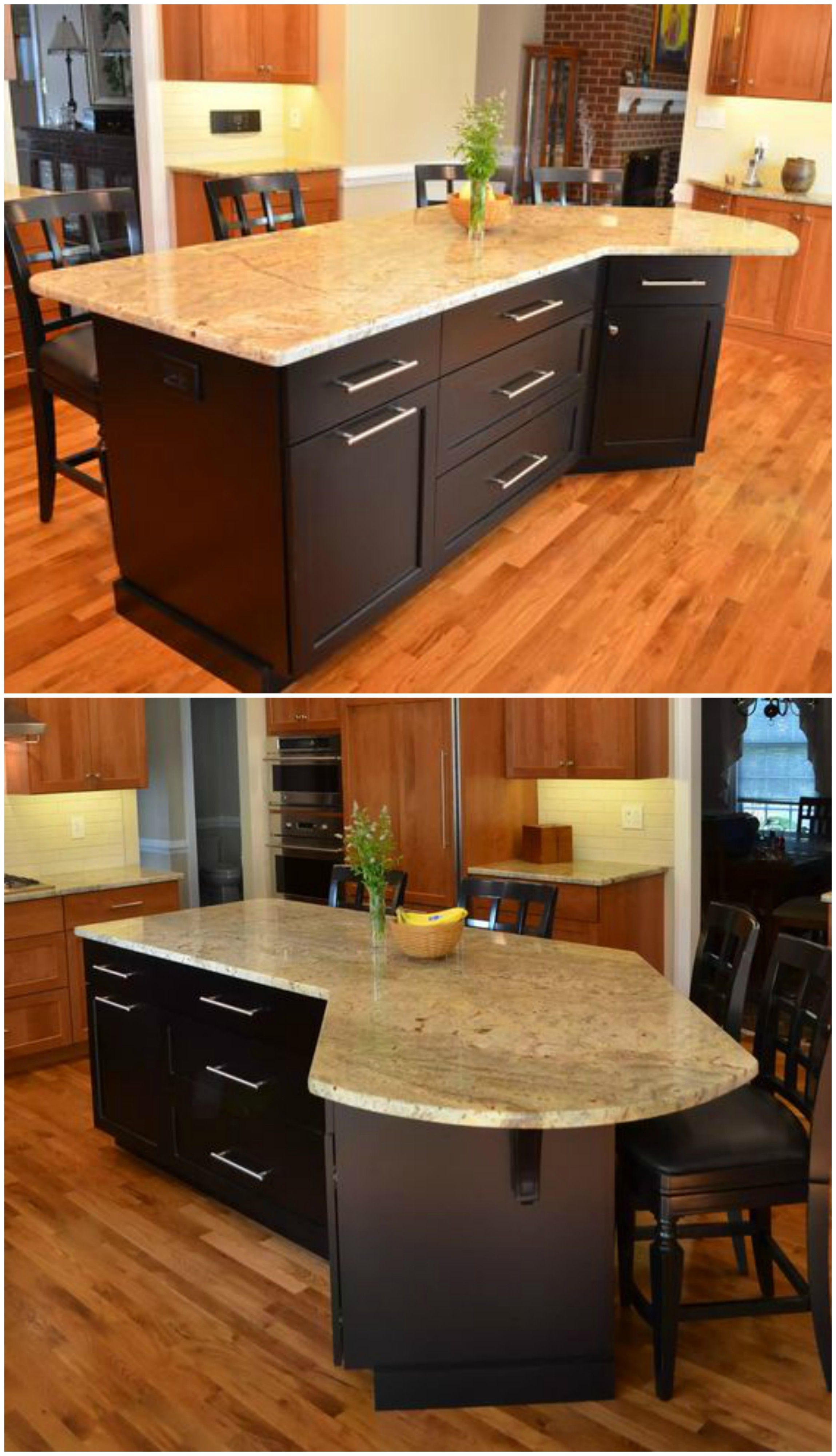L Shaped Island with Seating, Black, Light Marbled