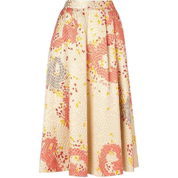 L.K. Bennett Gardo Midi Skater Skirt (€180) ❤ liked on Polyvore featuring skirts, pink skirt, pink midi skirt, floral skirt, floral circle skirt and flared skirt