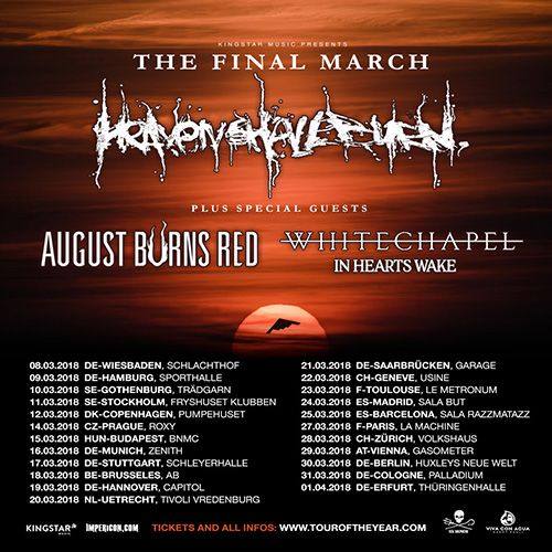 Whitechapel : the American extreme metal outfit announces 'The Final March' European tour in support of Heaven Shall Burn for March 2018! Au...