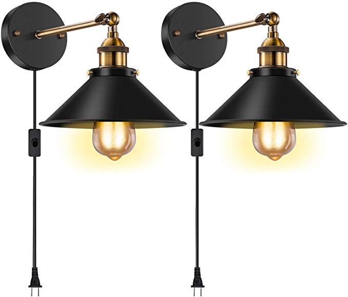 Licperron Vintage Style Wall Sconce Plug In E26 E27 Edison Antique 240 Degree Adjustable Industrial Wal Vintage Wall Sconces Industrial Wall Lights Wall Lights