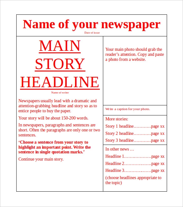 How To Write A Newspaper Article Template