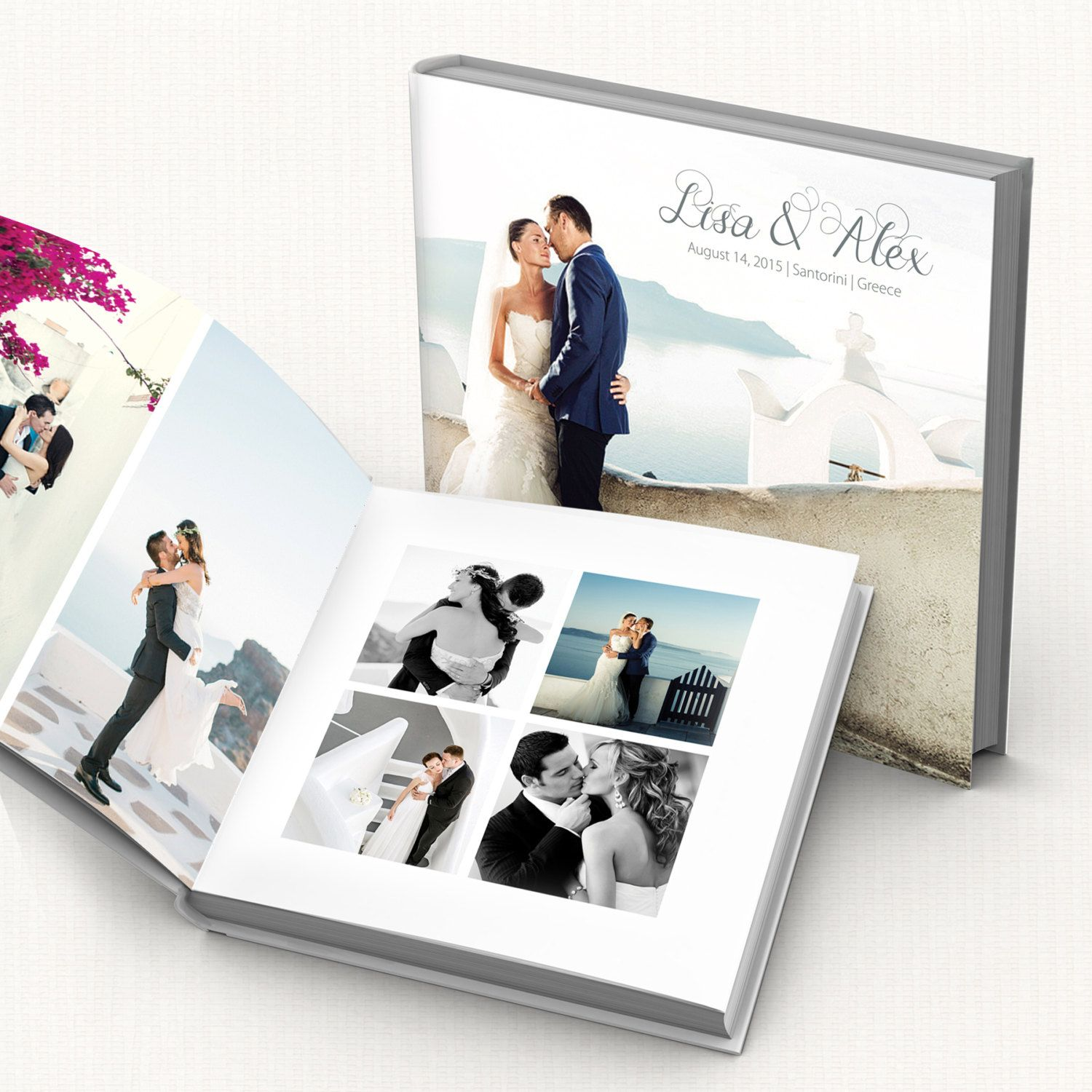 Wedding Album PSD Template. Customizable modern wedding photo book ...