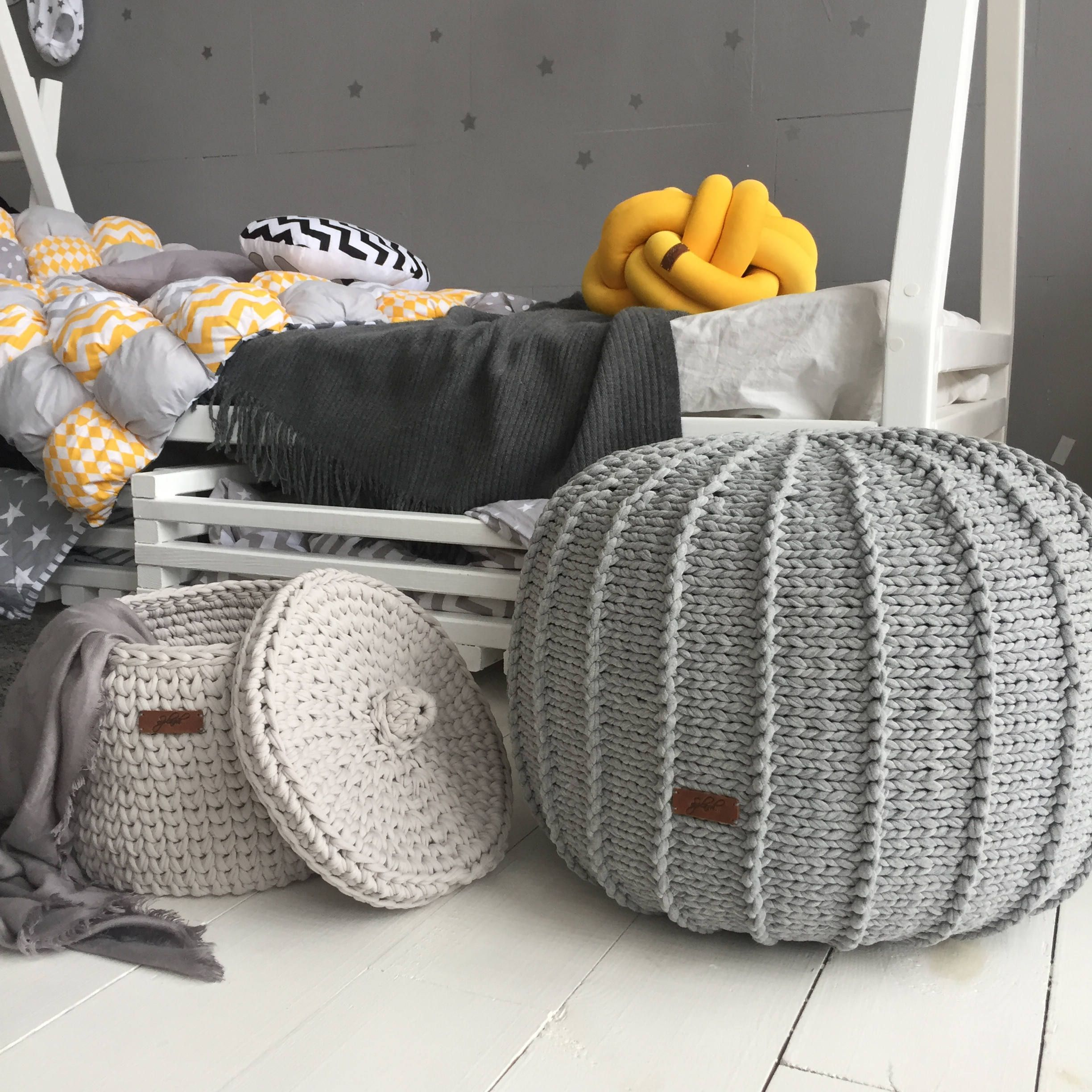 Large Pouf Ottoman Captivating Large Grey Floor Pouf Ottoman  Knitted Pouf  Knit Pouf  Knitted Design Ideas