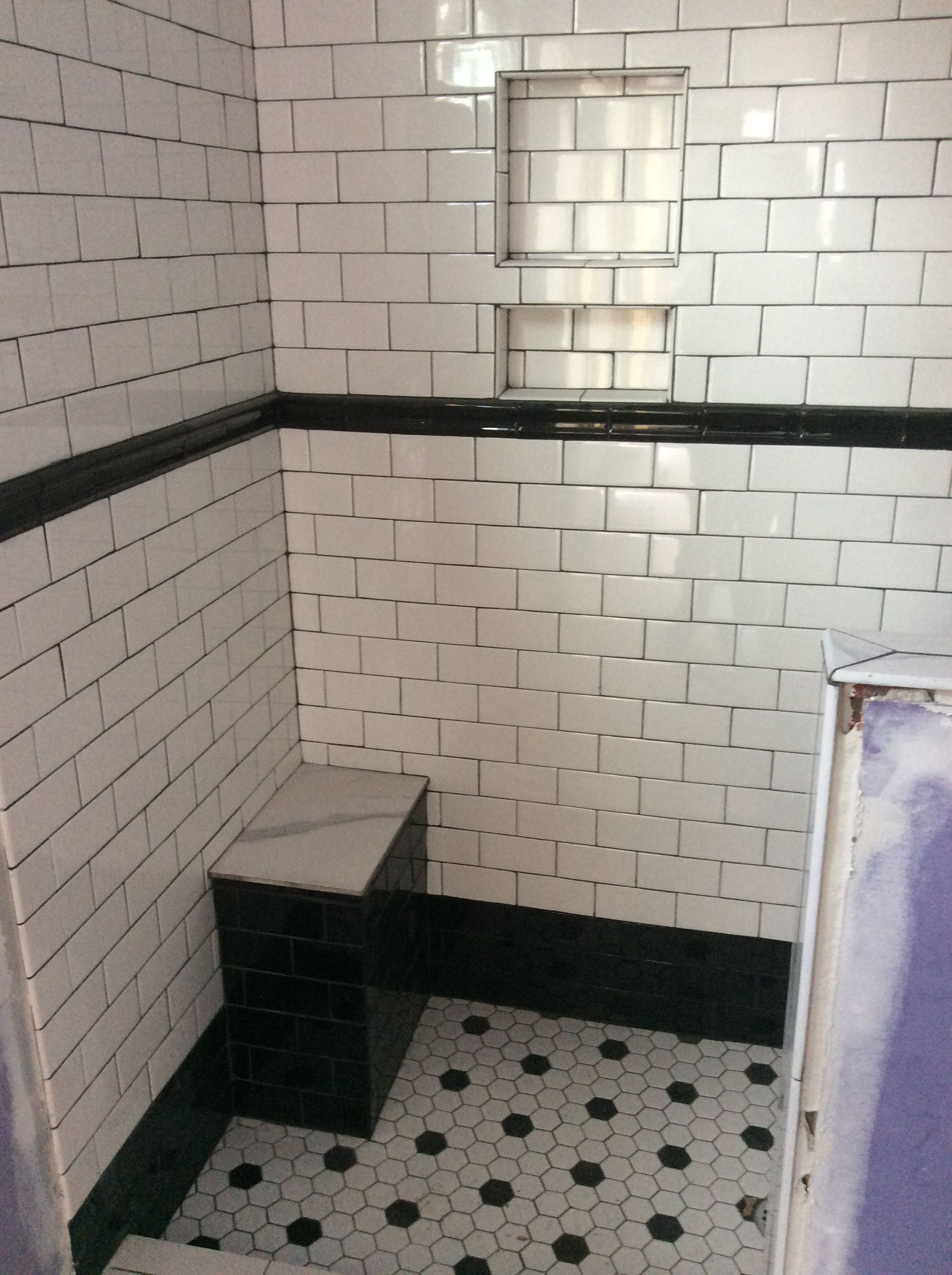 Black And White Classic Bathroom Tiles Black Chair Rail Black Grout White Subway T Black And White Tiles Bathroom White Bathroom Tiles Small Bathroom Tiles