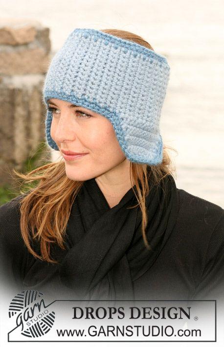 """DROPS 104-26 - Crochet DROPS head band with ear flaps in """"Silke ..."""