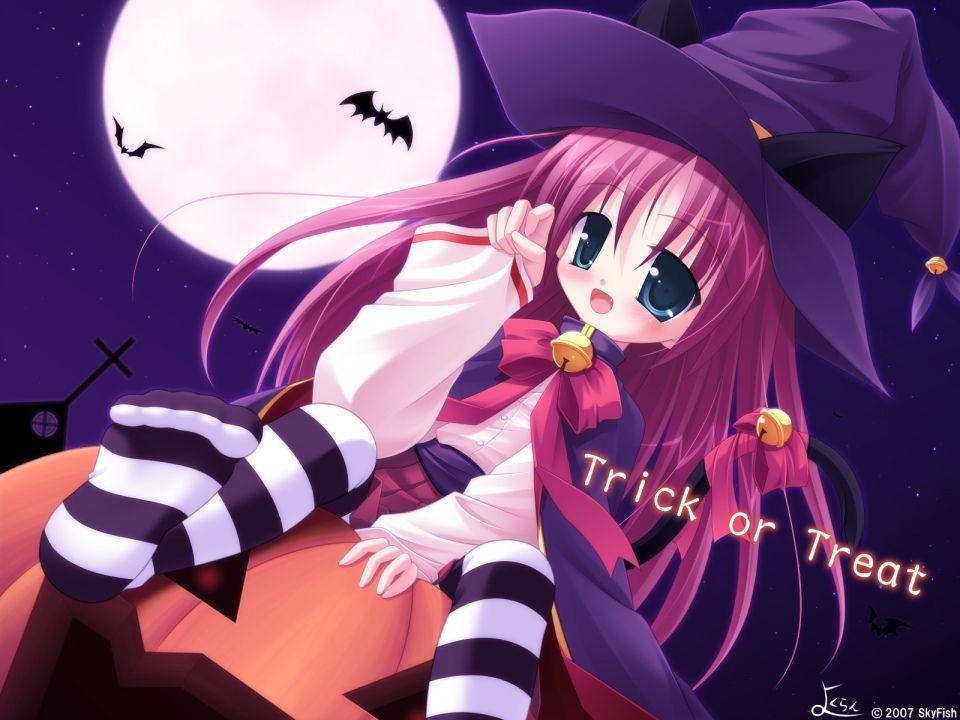 Anime girl - Happy Halloween - Trick or Treat