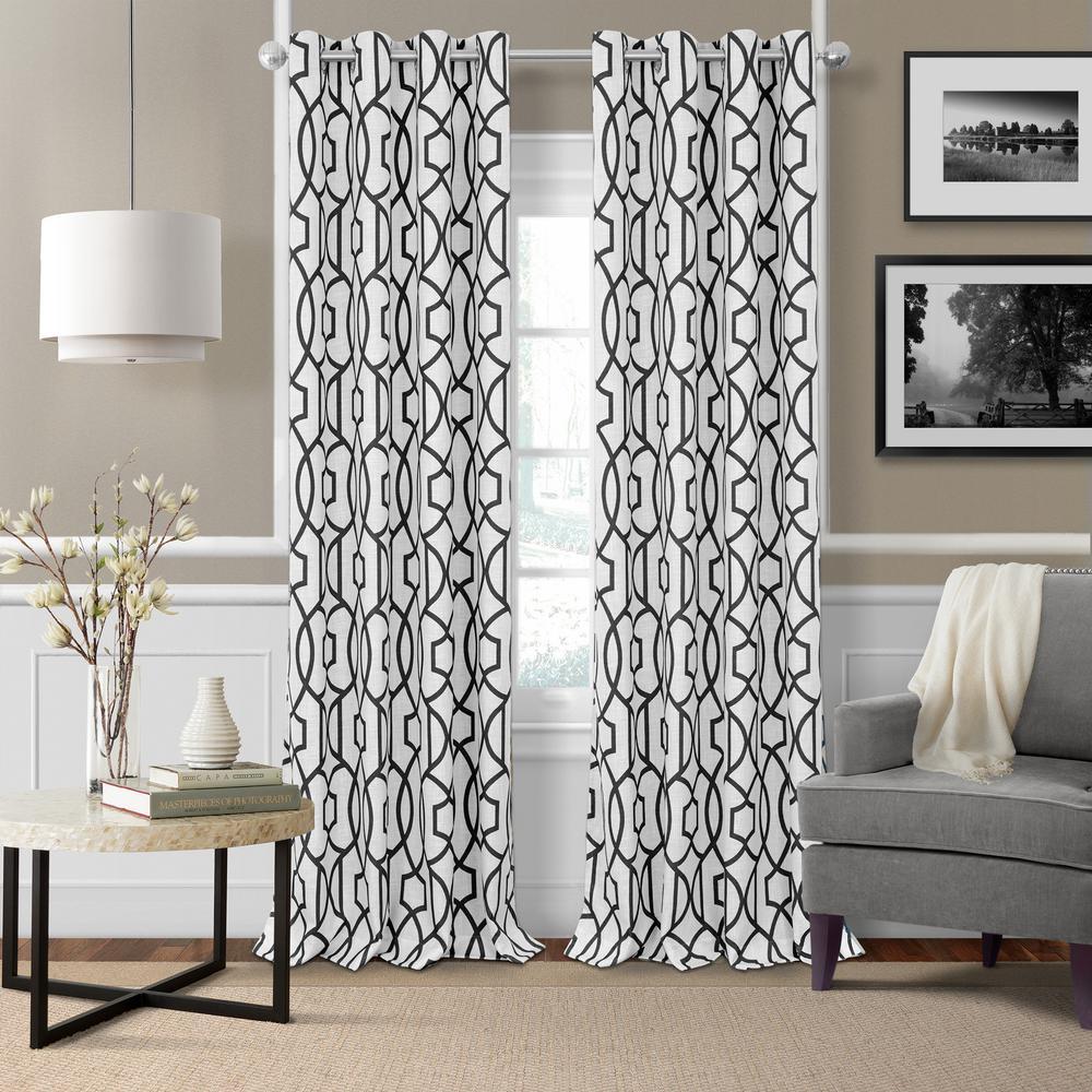Elrene Celeste Textured Ironwork Blackout Window Curtain 22411blk