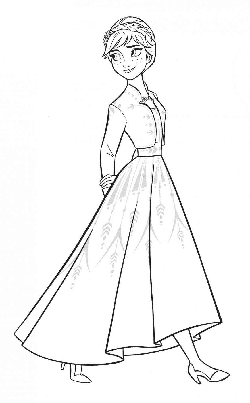 New Frozen 2 Coloring Pages With Anna In 2020 Frozen Coloring