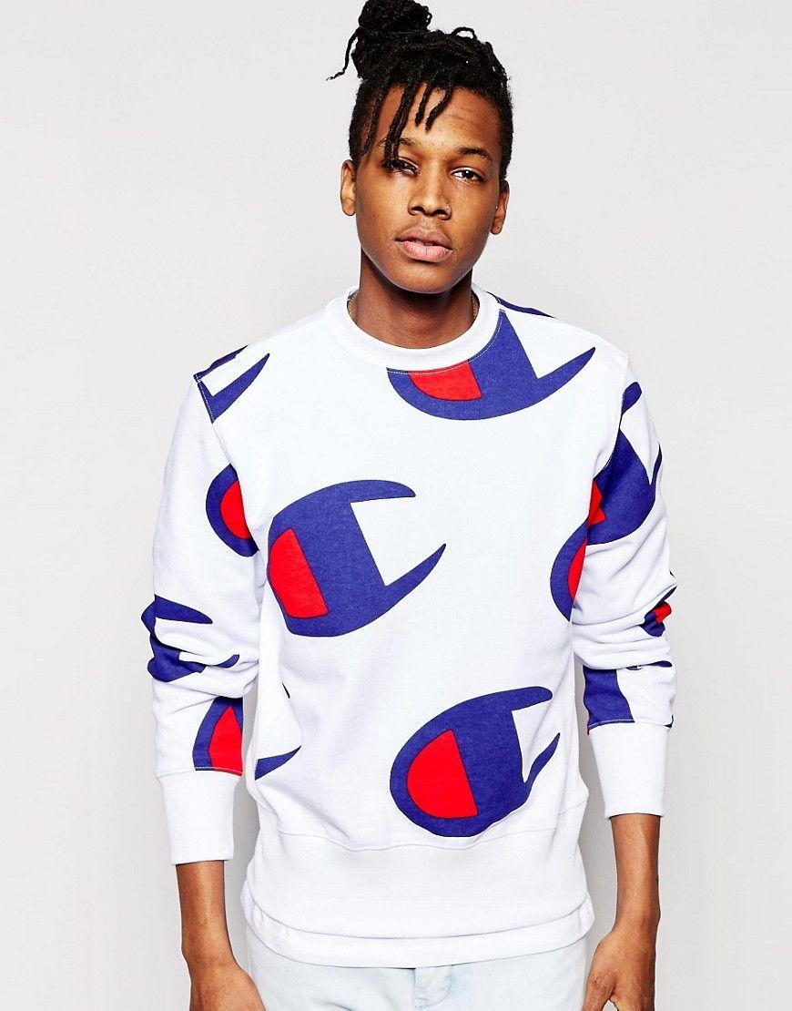 Champion Sweatshirt With All Over Logo Print At Asos Com Champion Clothing Men S Streetwear Champion Sweatshirt [ 1110 x 870 Pixel ]