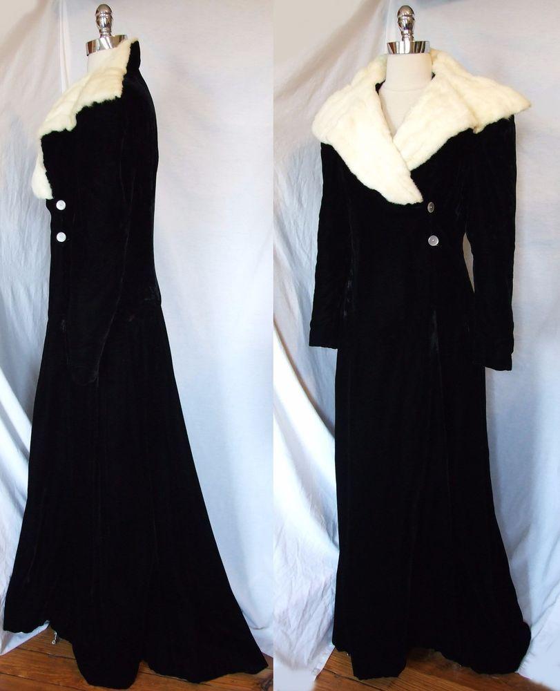 6de7338125c Vtg Atq 1930s Black Silk Velvet Ermine Evening COAT Opera Long Formal Dress   Formal