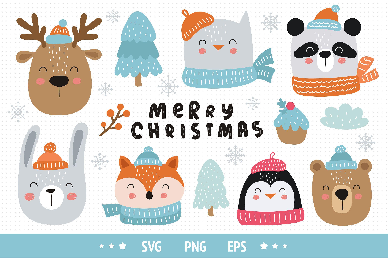 Christmas Clipart Christmas Animals Svg Winter Holiday Etsy Christmas Clipart Christmas Graphics Clip Art