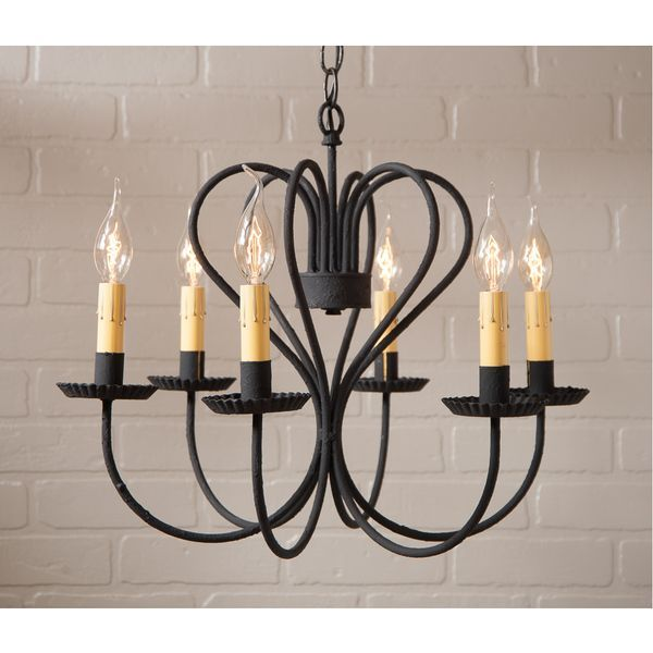 Large Georgetown Chandelier in Textured Black