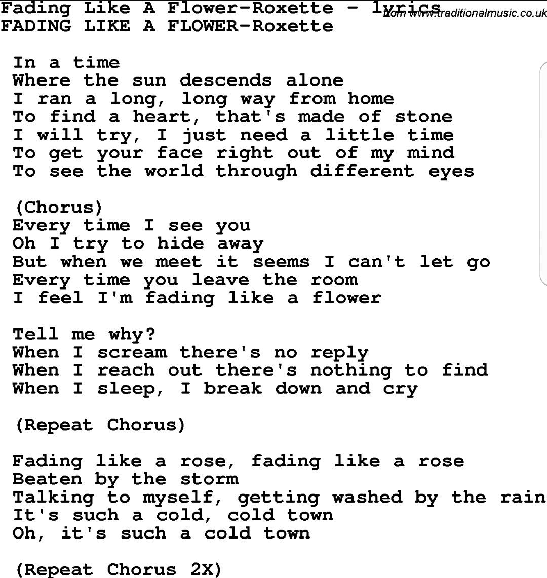 Roxette fading like a flower Funny words, Song quotes