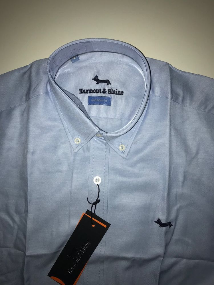 grey dachshund Harmont /& Blaine Shirt Narrow Fit  dark blue grey stripes