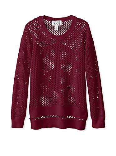 Autumn Cashmere Girl's Peace Back Sheer Sweater (Fuchsia)