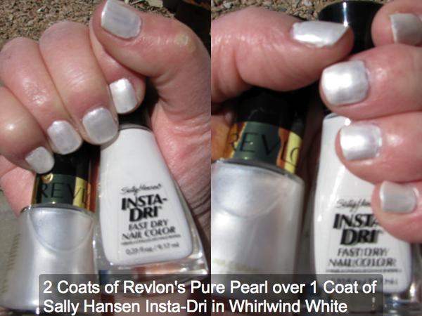 0b285d66f8 NOTD: 2 coats Revlon Pure Pearl over 1 coat Sally Hansen Insta-Dri in  Whirlwind White