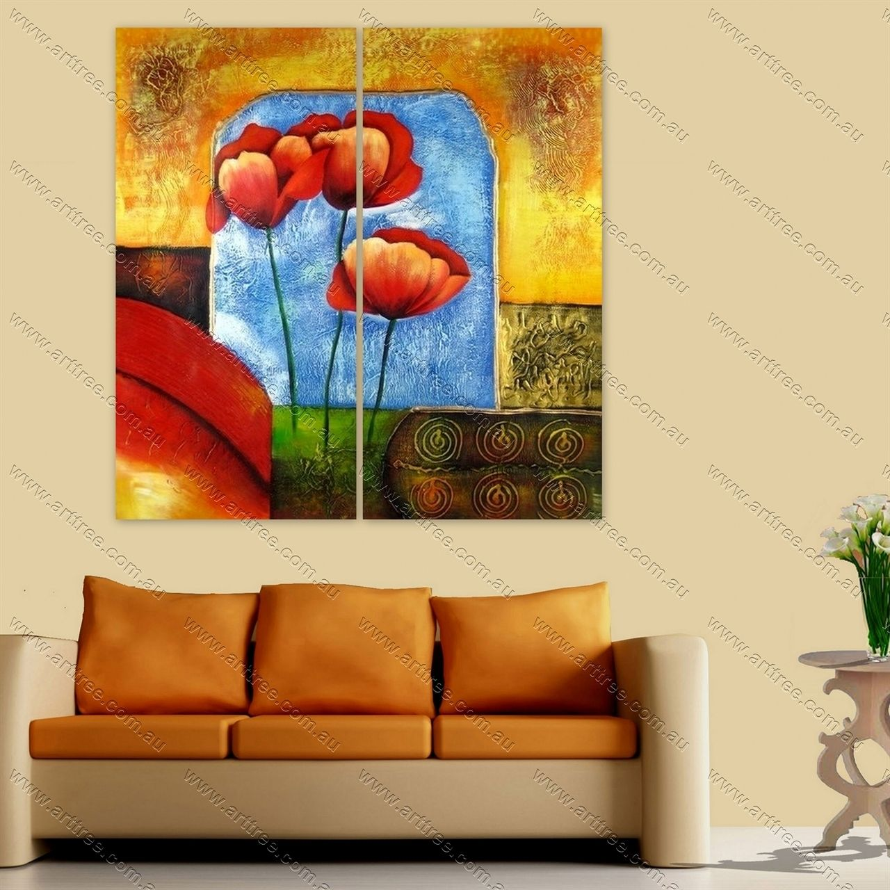 Rose Floral Oil Painting | 2 Panel Canvas Painting | Pinterest ...