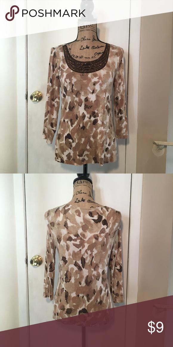6453eb6c58dcd3 Dana Buchman Leopard Pattern Top Excellent Condition Never Worn 95% Rayon  5% Spandex Size S Dana Buchman Tops
