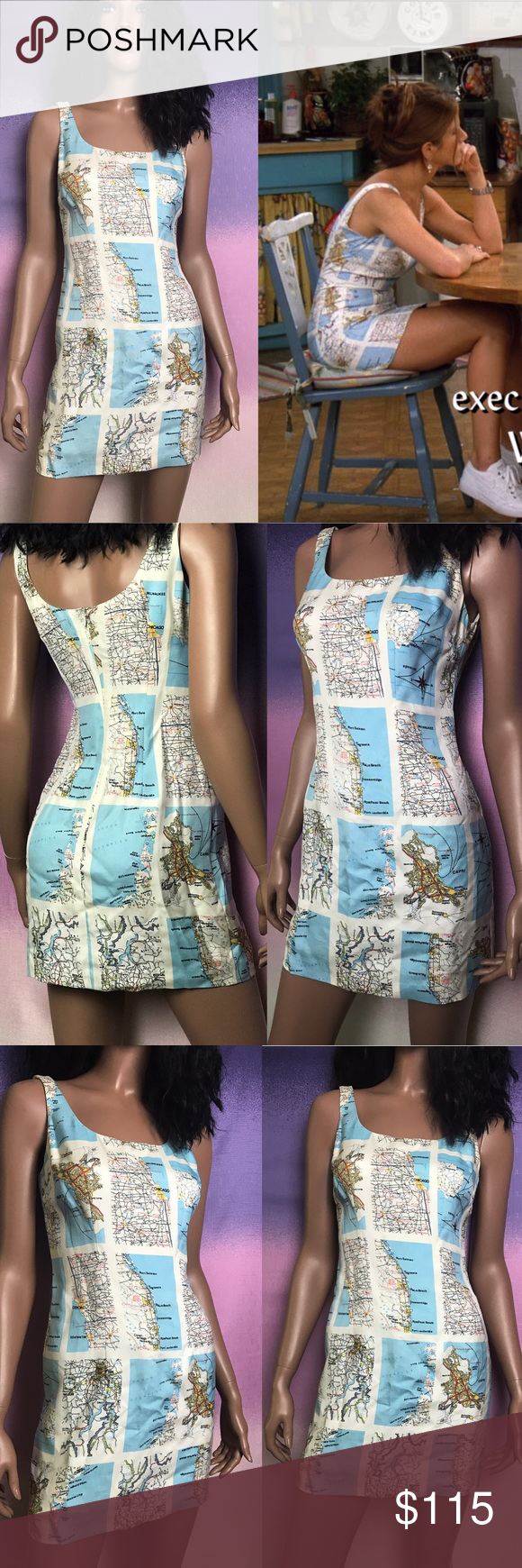 Rachel Green 90s Vintage Map Dress From Friends Fashion 90s Fashion Outfits Map Dress [ 1740 x 580 Pixel ]