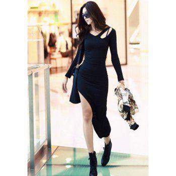 Bohemia Off Shoulder Irregular Hem Women's 2013 Spring Dress, BLACK,