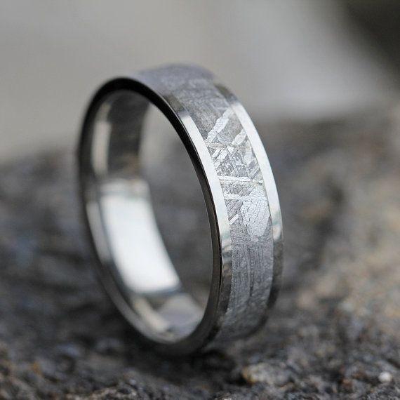 Authentic Meteorite Men S Wedding Band In Titanium Etsy In 2020 Mens Wedding Bands Meteorite Meteorite Wedding Band Mens Wedding Rings