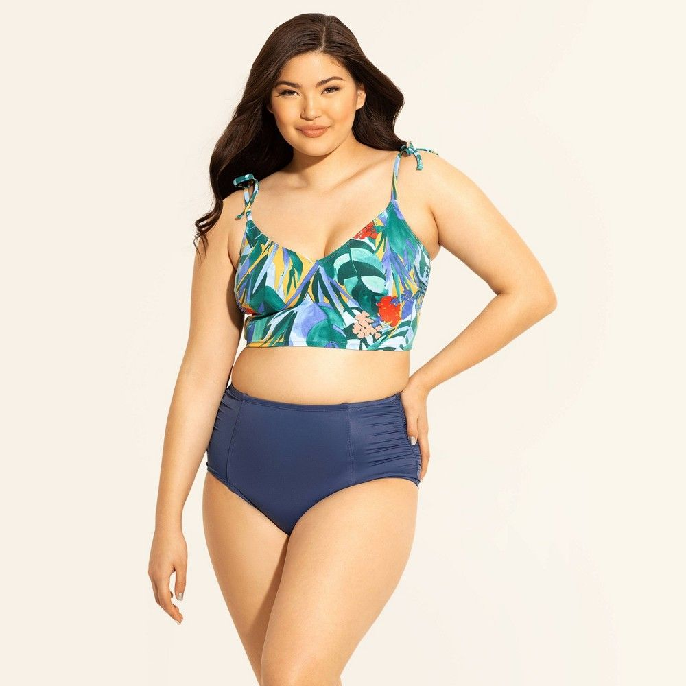 bf27428d9a Women's Slimming Control Tie Shoulder Bikini Top - Beach Betty by Miracle  Brands Yellow Tropical XL, Blue