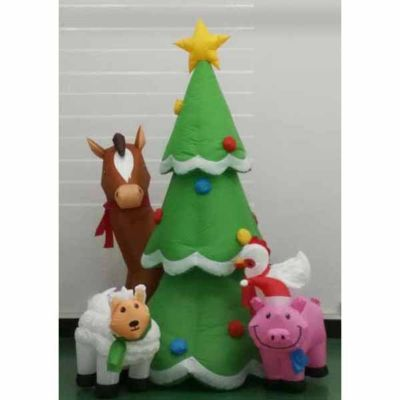 Tall Christmas Tree Cartoon.Inflatable Farm Animals Christmas Tree For Lawn Or Home
