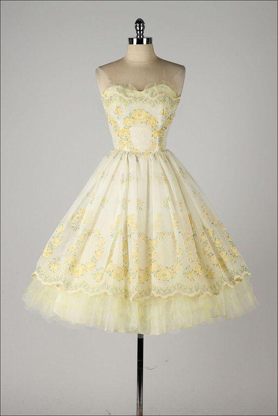 Vintage 1950s Dress Yellow Chiffon Flocked Rose Print Etsy Vintage 1950s Dresses Vintage Dresses Pretty Dresses