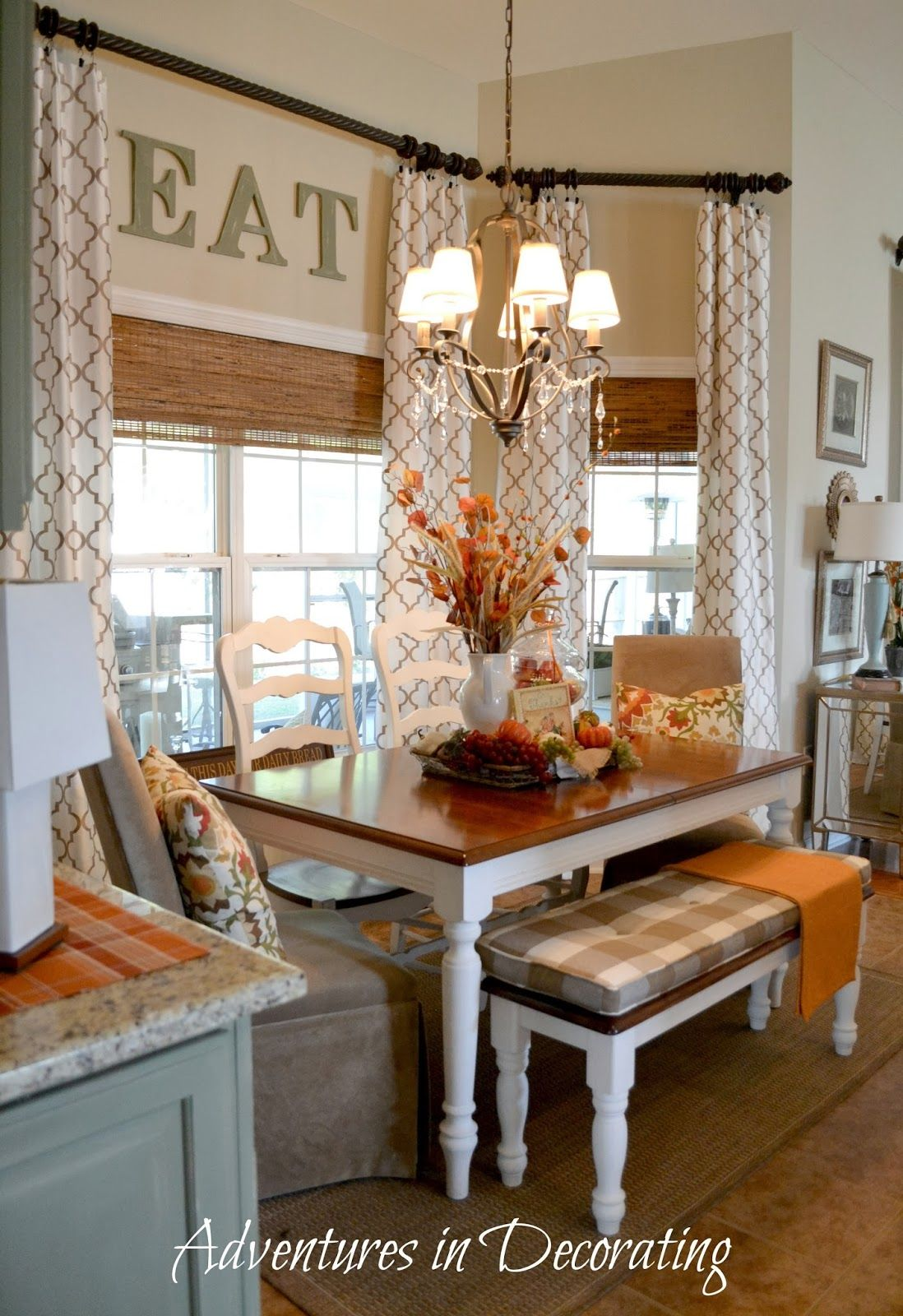 I love the way this nook is set up with the long table instead of round need to do this in my - Kitchen breakfast nook ideas ...