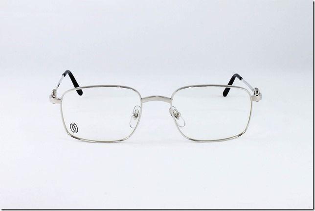 c5978d0381 Cartier Eyeglasses Frames Rxable Square Platinum T8100456 Authentic New  54-20