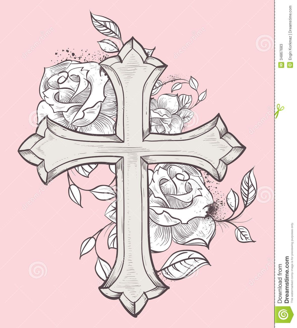 pix for gt cross with roses and banner tattos i